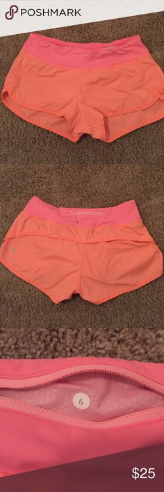 Lululemon two-way stretch speed short Lulu's speed short, size 6, two way stretch. Pink/Salmon pinstripe. Worn one time. lululemon athletica Shorts