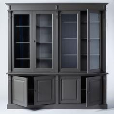 Grand buffet vaisselier gris foncé avec 4 portes et nombreuses étagères. Style intemporel, convient à tous les intérieurs !