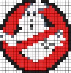 Ghostbusters Perler Bead Pattern Bead Sprites Characters Fuse Bead Patterns <-- gotta make this for Rob! Melty Bead Patterns, Pearler Bead Patterns, Perler Patterns, Beading Patterns, Embroidery Patterns, Mosaic Patterns, Knitting Patterns, Perler Beads, Perler Bead Art