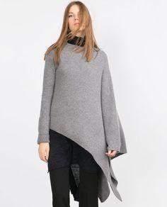 Image 2 of ASYMMETRIC PONCHO SWEATER from Zara Poncho Pullover, Poncho Sweater, Zara Women, New Trends, Crochet Lace, Mantel, Knitwear, Winter Fashion, Bell Sleeve Top