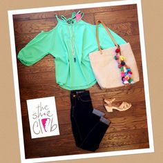 #coldshoulder the one trend that keeps getting stronger and stronger  I'm not complaining, I love it  Cold Shoulder Top $55 Blank NYC Personal Life $78 TOMS Beatrix Clog $129 Horn Necklace $29 Pompom Bag $49  ☎️ 210-824-9988