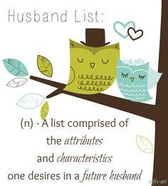 Did you create a husband list? Why every young woman should.  #husbandlist