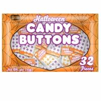 Looking for a great nostalgic candy for Halloween ? How about some Halloween candy buttons in orange and black colors. This are a mini strip on a spider web looking paper and individually wrapped. 32 per bag.