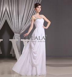 Elegant White Princess Chiffon Spaghetti Strap Long Bridesmaid Dresses With Beaded Ruche