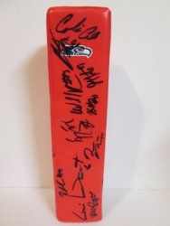 SOLD OUT! 2011 Seattle Seahawks team signed Rawlings football touchdown end zone pylon w/ proof photo.  Proof photo of the Hawks signing will be included with your purchase along with a COA issued from Southwestconnection-Memorabilia, guaranteeing the item to pass authentication services from PSA/DNA or JSA. Free USPS shipping. www.AutographedwithProof.com is your one stop for autographed collectibles from Seattle sports teams. Check back with us often, as we are always obtaining new items.
