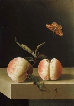 Adriaen Coorte  Still life with two peaches and a butterfly, 1693-1695