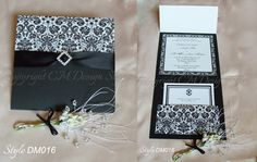 #handmade black and white #damask #wedding invitations with satin ribbon and diamante available via www.cmdesignstyle.com