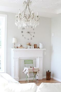 Cottage Decor- love the chandelier