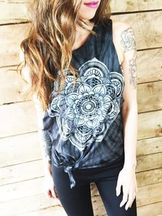 Womens black mandala printed tie dye muscle tee.  Sized small-extra large unisex. These are hand painted and raw cut.