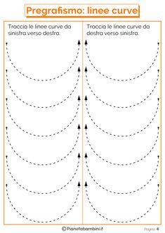 Schede di Pregrafismo di Percorsi con Linee Rette e Curve | PianetaBambini.it Tracing Lines, Tracing Sheets, Tracing Worksheets, Preschool Worksheets, Cursive Handwriting Practice, Fruit Coloring Pages, Pre Writing, Fine Motor, Activities For Kids
