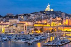 Marseille Port at night, Provence, France Marseille France, Provence France, Famous Landmarks, Famous Places, France Attractions, Harbor Town, Old Port, Voyage Europe, Great Hotel