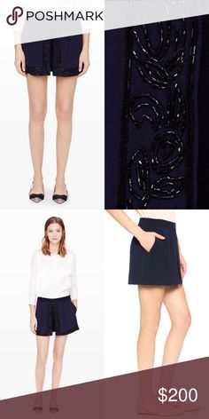 """Club Monaco Beaded Skort A sheer, beaded overlay makes our Cassia skort a new party go-to. Polyester blend. Sheer pleated overlay with beading at center slit. Hidden pockets at side seams. Hidden zip with hook-and-eye closure at side. 14.75"""" waist, 9"""" rise and 3.5"""" skort inseam Club Monaco Shorts Skorts"""