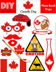 Canada Day Photo Booth Props http://www.kidscanhavefun.com/canadaday-activities.htm #canadaday #photobooth #props #july1st