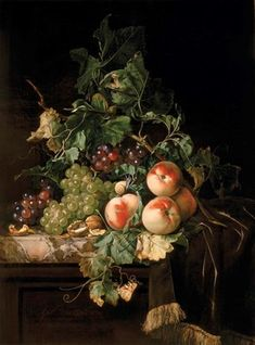 Willem van Aelst (Dutch,1627 – in or after 1683) - Still Life with Fruit, Walnuts, and Insects on a Marble Ledge, 1670