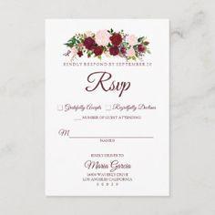 Burgundy Marsala Floral Wedding Invitation Card | Zazzle.com Wedding Rsvp, Floral Wedding Invitations, Wedding Invitation Cards, Wedding Suits, Wedding Themes, Elegant Wedding, Wedding Ideas, Marsala, Wedding Color Schemes