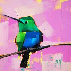 """Hummingbird no. 58 Painting"" - Original Fine Art for Sale - © Angela Moulton"