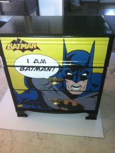 Decoupaged a Batman poster onto my son's mini-dresser for a cool effect.