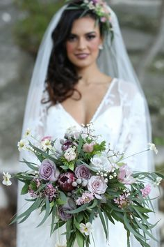 Lovely Lavender Bridal Bouquet for a Romantic Outdoor Wedding with Vintage Boho Elegance from Flora Fetish
