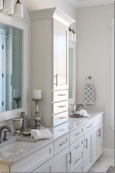 Master bathroom: like division between sinks with drawers. 2014 Birmingham Parade of Homes Ideal Home master bathroom Bathroom Renos, Bathroom Renovations, Small Bathroom, Home Remodeling, Bathroom Ideas, Bathroom Storage, Master Bathrooms, Master Baths, Bath Ideas