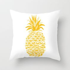 Pineapple - Yellow Throw Pillow by MONOCHROMAT - $20.00
