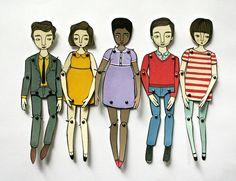 miniature moveable paper doll in red stripes by JordanGraceOwens