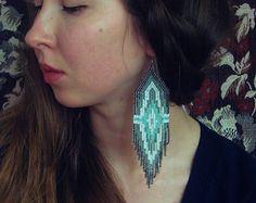 Daydreamer..Beaded Fringe Earrings Native American by hoofandarrow