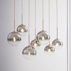 Sculptural Glass Linear Chandelier, S-M Globe, Silver Ombre Shade, Bronze Canopy at West Elm West Elm Chandelier, Bathroom Chandelier, Globe Chandelier, Linear Chandelier, Chandelier Lighting, Bubble Chandelier, Chandeliers, Dining Room Light Fixtures, Dining Lighting