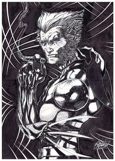 """- Wolverine (unmasked) - Original Fan Art (Watermarked) """"Better'stay out of trouble bub!""""  This interpretation of the most beloved and famous X-men Marvel character """"keeping you out of trouble"""" in this resting but threatening pose. Wolverine was created in 1974 and first appeared in the Marvel Comics """"The incredible HULK"""" #180 before he joined the new X-men recruits in """"Giant-Size X-men"""" #1 in 1975.  This original artwork is 11""""x17"""" inches, rendered in black and white ink on a bristol board…"""