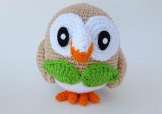 Made to Order Crochet Rowlett Pokemon amigurumi by PlushiePlanet Pokemon Crochet Pattern, Crochet Patterns Amigurumi, Amigurumi Doll, Rowlett Pokemon, Diy Crochet, Crochet Toys, Pokemon Plush, Pikachu Art, Crochet Animals