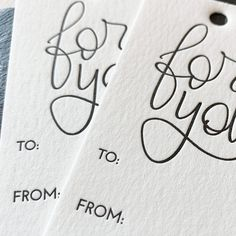 Hand lettered modern calligraphy holiday letterpress gift tags by Paper Sushi Computer Font, 5 Gifts, Perfect Timing, Self Inking Stamps, Modern Calligraphy, Artist At Work, Letterpress, Gift Tags, Hand Lettering