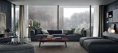 Diseño de salón en gris y azul. Living room in grey and blue colors. Minimal and warm living room