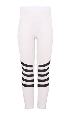 Striped White LeggingsIna comfy jersey fit with a striped leg design, these leggings are pe...