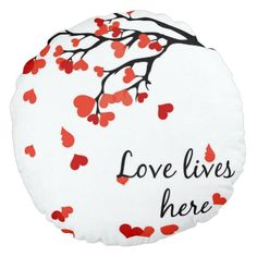 lovers Falling heart tree round pillow