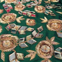 Ui Bullion Embroidery, Zardosi Embroidery, Embroidery Stitches Tutorial, Types Of Embroidery, Embroidery Dress, Hand Embroidery, Embroidery Designs, Mirror Work Blouse Design, Embroidery Suits Punjabi