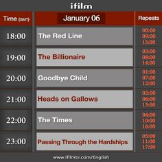 Here is today's iFilm schedule. www.ifilmtv.com/english/