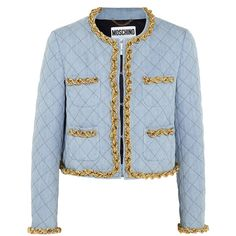 Moschino Chain-trimmed quilted denim jacket (23.925 UYU) ❤ liked on Polyvore featuring outerwear, jackets, coats, blazers, blue quilted jacket, moschino, quilted jean jacket, blue denim jacket and blue jackets