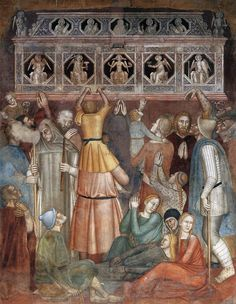 Scenes from the Life of St Peter Martyr (south wall, detail) 1366-67 Fresco Cappellone degli Spagnoli, Santa Maria Novella, Florence