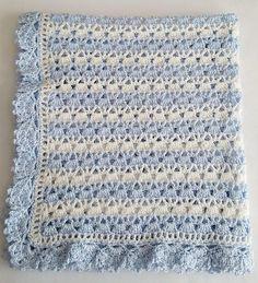 Baby Boy Blanket Crochet Baby Blanket Blue White Strip