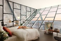 glass bedroom with a view