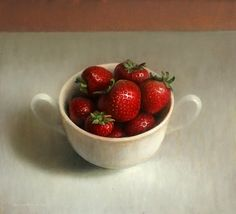 Still life with strawberries, painting by artist Jos van Riswick