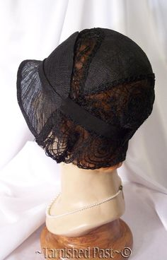 be45310a8f6ce 1920 s Black Sisal Coiling Spiral Web Lace FLAPPER CLOCHE Hat Art Deco  Fashion