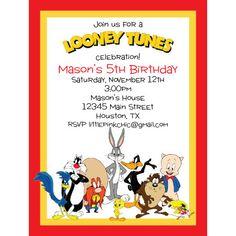 Looney Tunes Party, Baby Looney Tunes, Fall Birthday, 9th Birthday, Boy Birthday Parties, Birthday Ideas, Looney Toons, Birthday Invitation Templates, Birthday Party Invitations