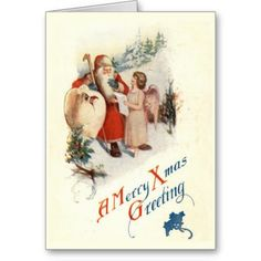 Vintage Christmas Card  Very sweet antique illustration of Santa Clause talking with an angel. The inside of this card is bla...