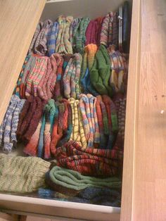 a drawer full of pretty knitted socks. I want one! Now I just need to learn how to knit socks...
