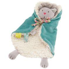 Doudou en laine et velours bleu Minoucha, Les Pachats