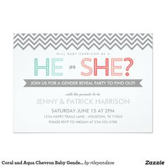 "Coral and Aqua Chevron Baby Gender Reveal Party 5"" X 7"" Invitation Card"