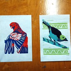 Two linoleum reduction prints I'm working on at the moment...