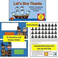 Perfect for in classroom or virtual, this super cute editable Thanksgiving PowerPoint game template is sure to keep your PreK - 5 students engaged. Use it with any subject. Very simple to set up and play. Powerpoint Game Templates, Question And Answer, This Or That Questions, Early Education, Creative Teaching, Give Thanks, Grade 1, Fun Activities, School Stuff