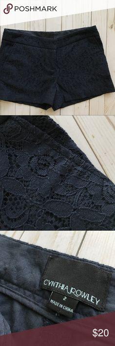 Cynthia Rowley Navy Lace Shorts Navy lace patterned Cynthia Rowley shorts, super comfy and classic style. Cynthia Rowley Shorts