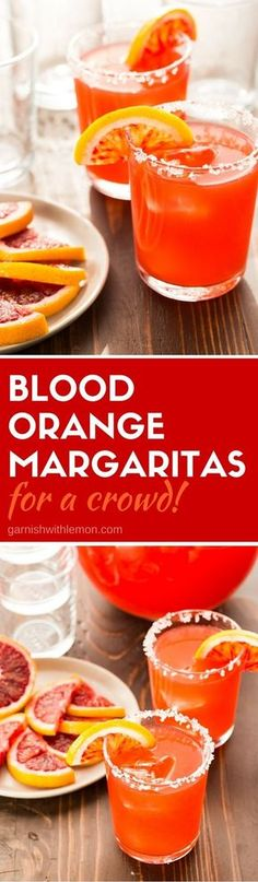 Need a batch cocktail recipe for a party? Whip up a pitcher of these gorgeous Blood Orange Margaritas ahead of time and relax with your guests instead of tending bar! #margaritas #batchcocktails #cocktails #tequila